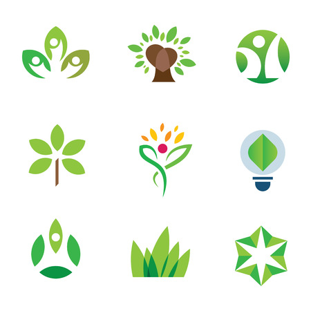 environmental awareness: Eco environment awareness green tree nature community icon set