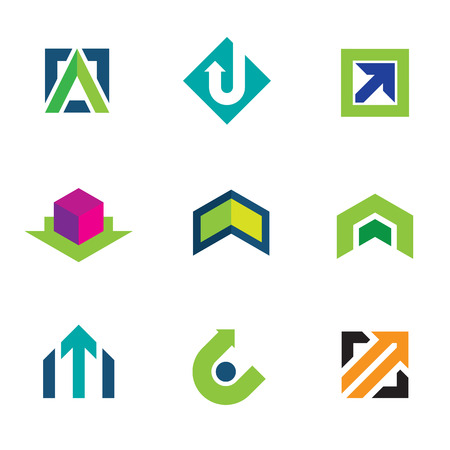 progress: Business company economy green arrow progress icon set Illustration