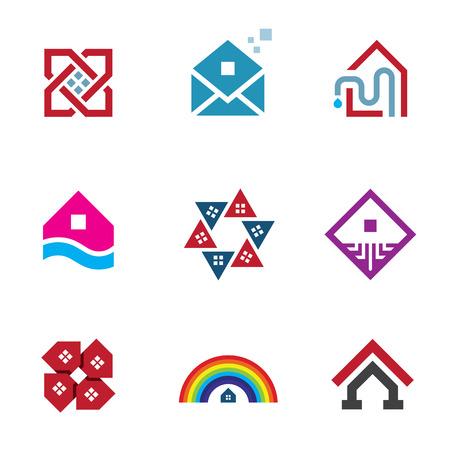 logo batiment: Fondation immobilière grande construction de la maison de construction abstraite logo icône Illustration