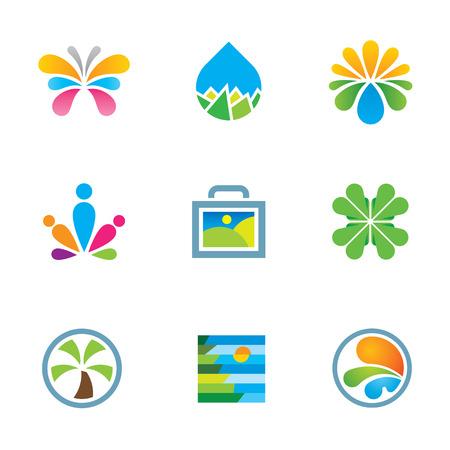 logo voyage: Colorful floral nature splash expérience Voyage d'art logo icône ensemble Illustration
