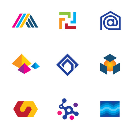 New technology innovative company app logo future network icon set Vector