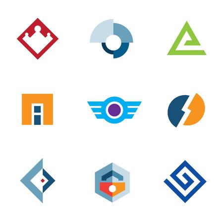 Logo trademark brand company business abstract technology icon set Vector