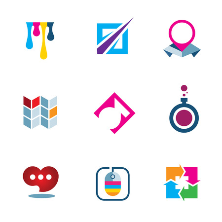 Colorful inspiration solutions bright future science technology logo icon set Vector