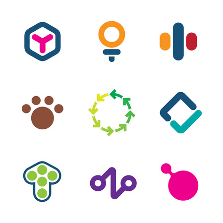 Environment friendly efficient solutions green initiative creative logo icon set Vector