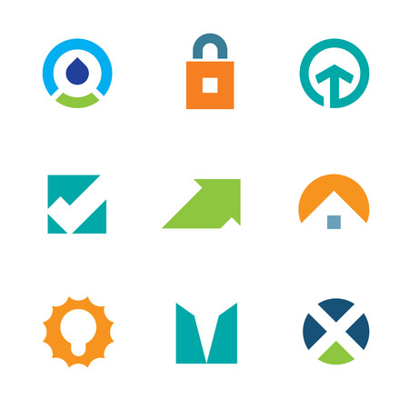 Success arrow up green care energy business logo icon set Vector