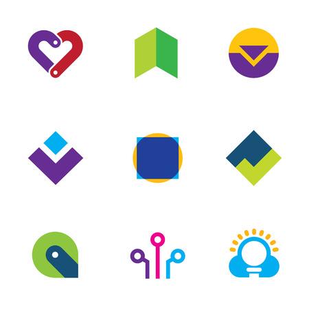 creating: Creative innovation creating success logo set foundation care icon vector Illustration
