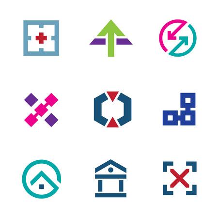 Navigation positioning menu bar startup business logo flexible icon set Vector