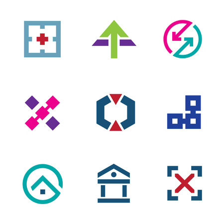 flexible business: Navigation positioning menu bar startup business logo flexible icon set