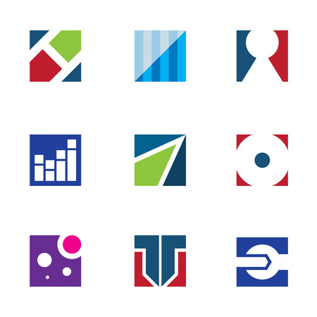 Strength corporate flexible business logo startup vector icon set Vector