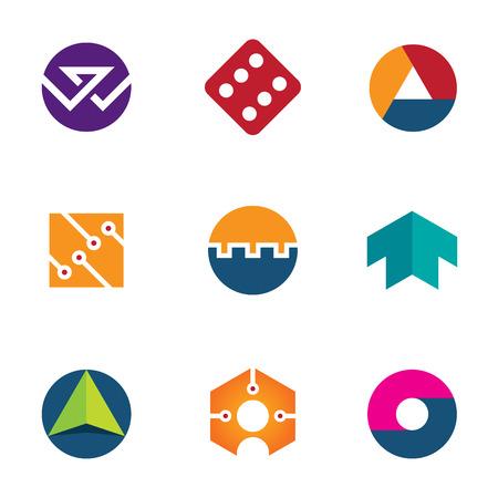 coup de pouce: Technologie succ�s chance fondation fl�che booster logo icon set Illustration