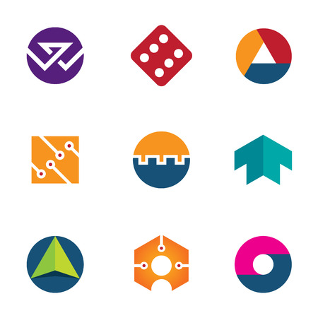 Technology success luck foundation arrow boost up logo icon set Vector