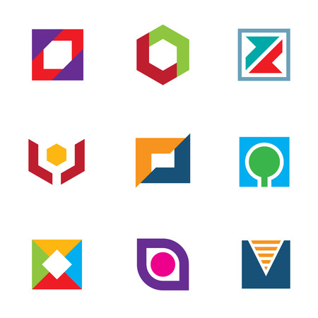 Professional logo icon set of creative company brand build network Vector