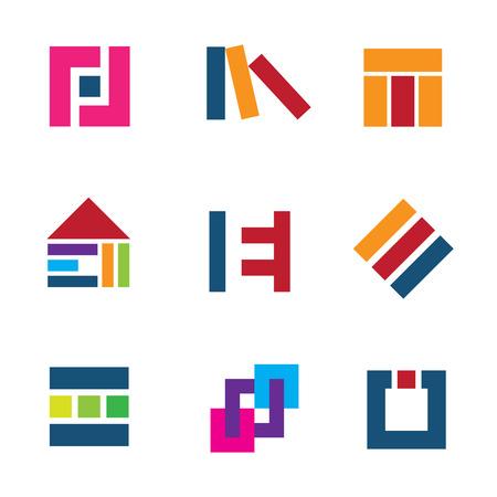 Creative building construction site architecture design logo connection icon set