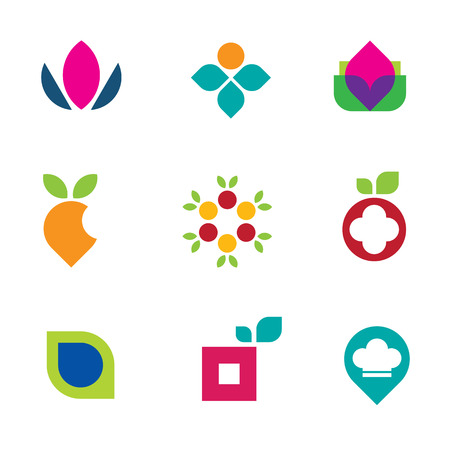 Nature fruit flower logo vector symbol tasty food icon set Vector