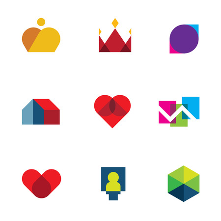 Royal shapes mosaic geometric logo peaces colorful vector icon set Vector