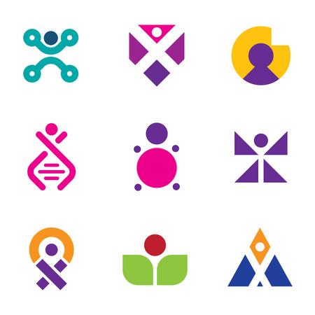 human evolution: Genetic evolution human technology engineering logo set family icon DNA Illustration