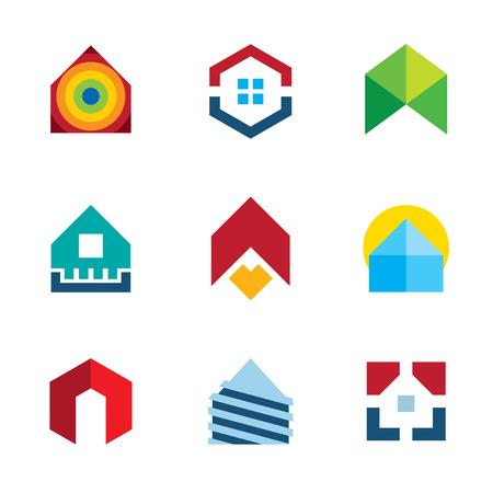 estates: Construcci�n de la casa de construcci�n residencial de bienes ra�ces logotipo colorido conjunto de iconos