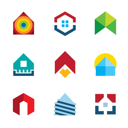 real estate house: House residential build construction real estate colorful logo icon set Illustration