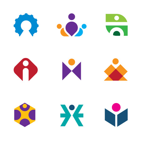 People creative tools of innovation icon set maze construction logo Vector