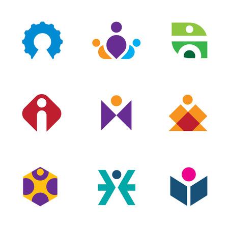 creative tools: Persone strumenti creativi di innovazione labirinto icona set costruzione logo