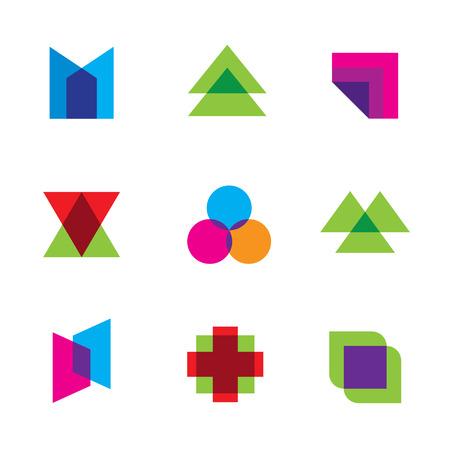 dimension: Geometric mosaic art polygons shape dimension logo icon set vector