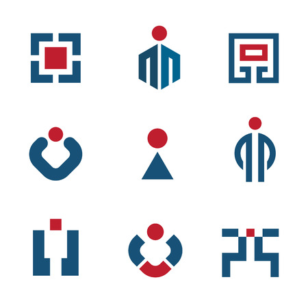 People corporate business technology sales success logo vector icon set