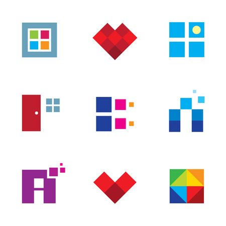 Creative pixel cube door window opportunity dimension logo icon set Vector