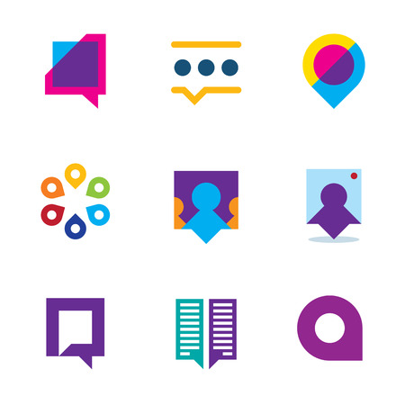 Chat talk bubble people conversation video communication logo icon set Vector