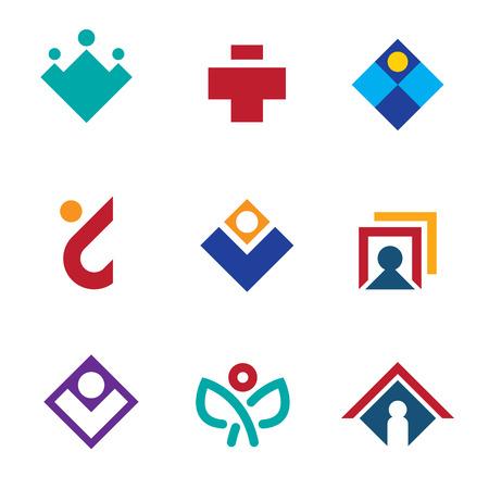 Human social branding network connections site icon set man logo Vector