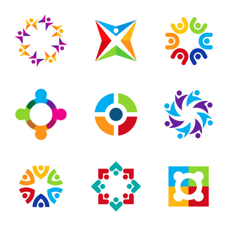 Partnership education circle spiral icon set focus on education logo
