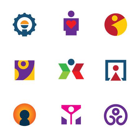 Human silhouette form shape logo man icon set creative move Vector