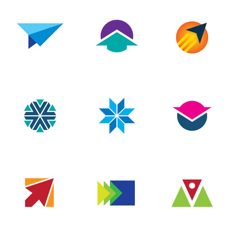 Flash air speed idea icon set arrow up sign logo Vector