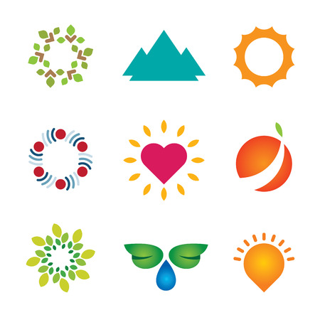 Nature circle green landscape logo mother love icon set vector Vector