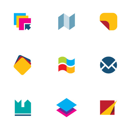 operating system engine document organization icon set logo Vector