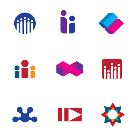Abstract social networking community people logo set forum icon vector Vector