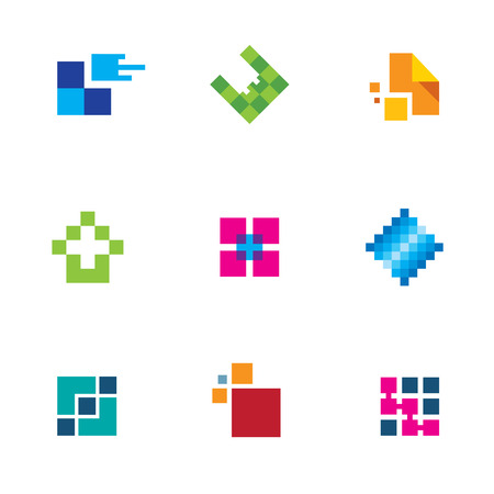 Chip pixel success technology integrate logo connection icon set creativity Vector