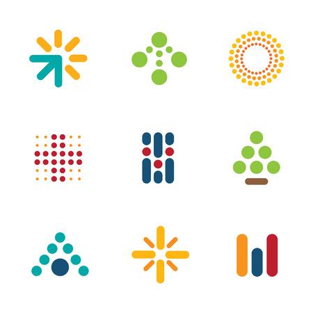 aziende: Dot logo set simbolo della freccia progresso successo icona della Guida vettore Vettoriali