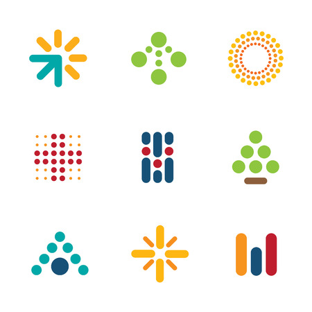 Dot logo set symbol arrow success progress icon help vector Vectores