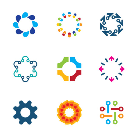 Colorful social circle partnership technology connection bond logo icon set Vector