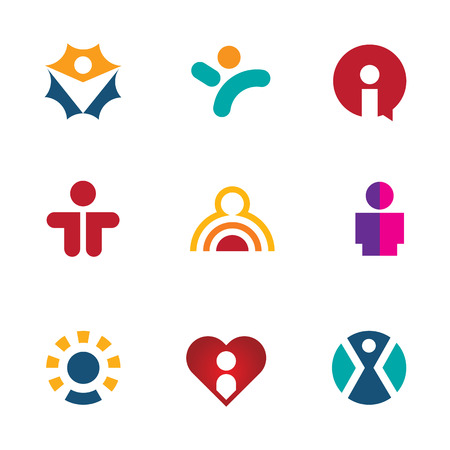 Human colorful shape icon set silhouette people logo social man Vectores