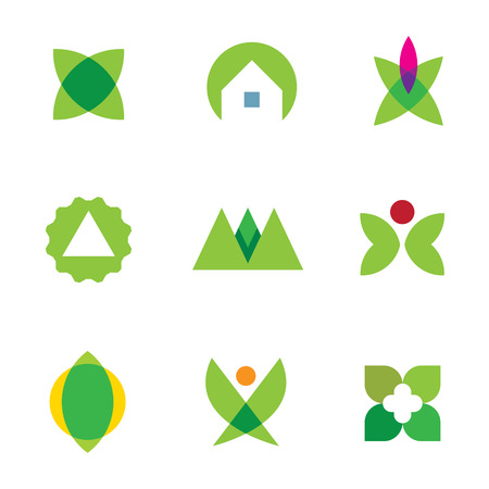 Green nature exploration home silhouette logo set application icon vector Vector
