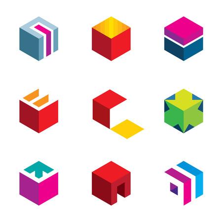 Puzzle cube maze box arrow symbol success logo icon set Vectores