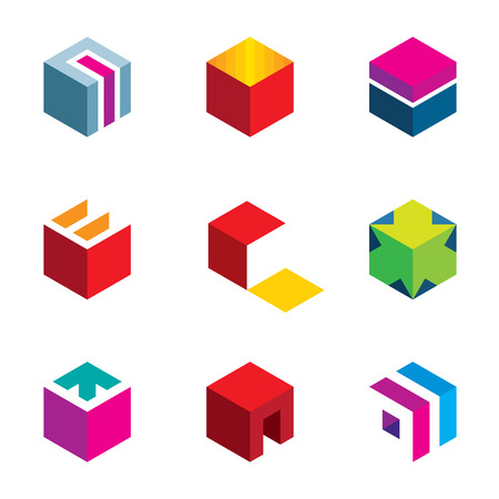 Raadselkubus doolhof doos pijl symbool succes logo icon set Stock Illustratie