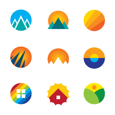 Beautiful nature circle view landscape logo set mountains experience icon Vector