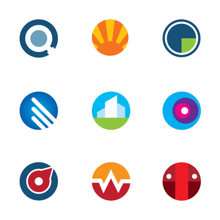 New mobile technology application circle logo set internet startup icon Vector