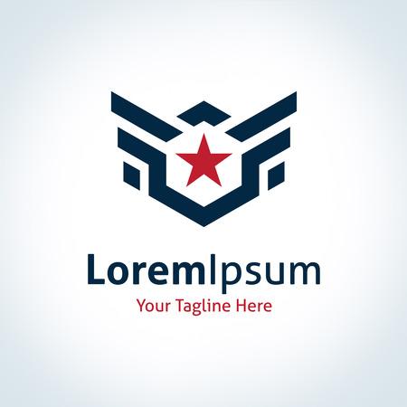 r�sistance: Fly ailes �toiles de logo professionnel de force de logo d'entreprise ic�ne Illustration