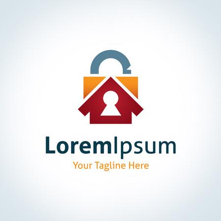 or lock up: Guarde bajo llave su casa familiar logo protecci�n icono de la marca premium