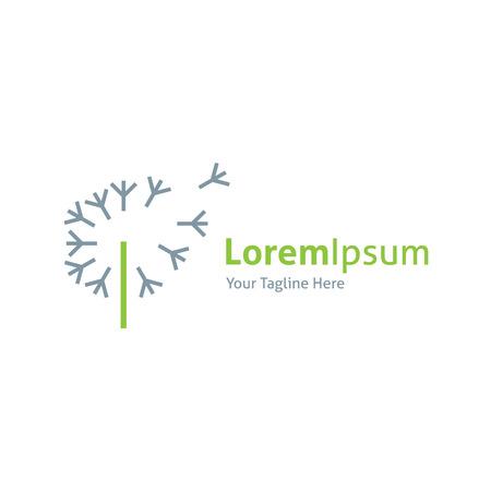 logos empresa: Diente de león soplado por el logo de viento icono hermoso de la naturaleza Vectores
