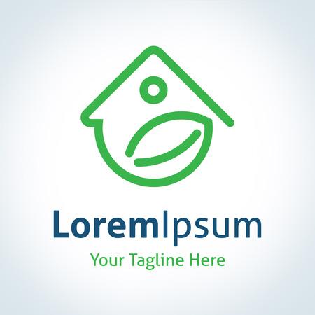 energy logo: Green home energy protection vector logo icon Illustration