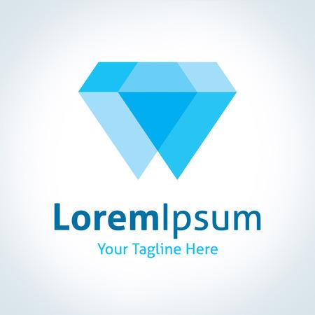 Big diamond blue royal shine perfect simplicity vector logo icon Illustration